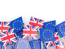 Flags of European Union and United Kingdom. Brexit concept Royalty Free Stock Photography