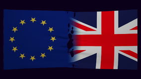 Flags of European Union and United Kingdom divided.. Flags of UK and European Union stretched and tear in half. Brexit concept stock video