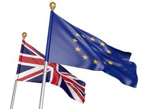 Isolated European Union and United Kingdom flags flying together for diplomatic talks and trade relations, 3D rendering Royalty Free Stock Photography