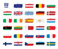 Flags of the european union. Vector illustration Royalty Free Stock Images