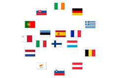 Flags of eurozone countries Stock Images