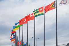Flags evolve over Sochi Autodrom. Russian Grand Prix Royalty Free Stock Photography