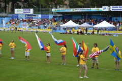 Flags exhibiting during the opening ceremony of 2014 World Ultimate of frisbee. Royalty Free Stock Photography