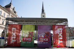 Flags of EXIT festival 2015 in city center of Novi Sad Royalty Free Stock Image