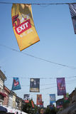 Flags of EXIT festival 2015 in city center of Novi Sad Royalty Free Stock Images