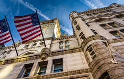 Flags and exterior architecture at the Old Post Office in Washin Stock Image