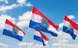 Flags of Federal Subjects of Russia. Flags of Samara region flut Stock Photography