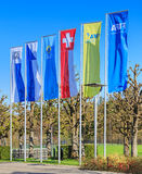 Flags at FIFA headquarter entrance Royalty Free Stock Images