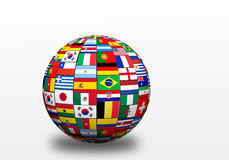 Flags of finalists on world cup in Brazil 2014. 3D sphere with drop shadow and flags representing all countries participating in football world cup in Brazil in stock illustration