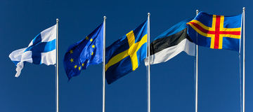 Flags of Finland, Eurounion, Sweden, Estonia, Aland islands Stock Photography