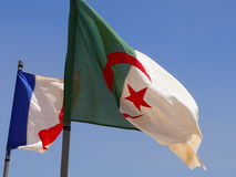 Flags. Flag of Algeria and France - a heraldic symbol of the state stock image