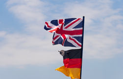 Flags on flagpole Stock Image