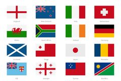 Flags in flat style. England and Wales, Scotland Royalty Free Stock Photo