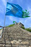 Flags floating in the wind, Badaling section of the Great Wall, Royalty Free Stock Photo