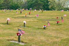 Flags and flowers in cemetery Memorial Day Royalty Free Stock Photo