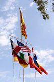Flags flowing in the breeze Stock Photography