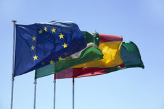 Flags fluttering Stock Image
