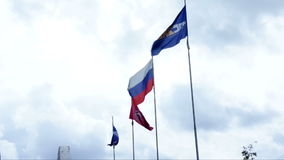 Flags fluttering in the wind. Four different flags fluttering in the wind during the exhibition stock video
