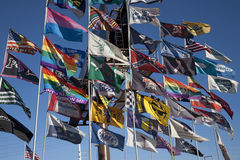 Flags fly in blue sky in Las Vegas Royalty Free Stock Photos