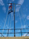 Flags Fly over Fort Moultrie on Sullivan`s Island stock images