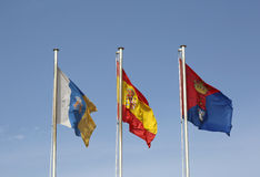 Flags flying in the air in Arrecife,Lanzarote Stock Images