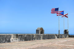 Flags Flying Atop Castillo San Cristobal Fort Stock Photo