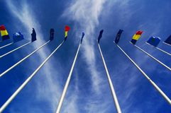 Flags flying in the breeze Royalty Free Stock Photo