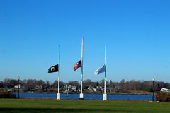 Flags flying at half mast Royalty Free Stock Photo