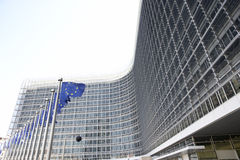 Flags Flying Outside European Commission Building Stock Photography