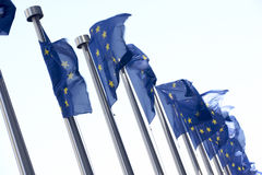 Flags Flying Outside European Commission Building Stock Images