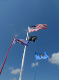 Flags flying at VFW Post 4518, Sallisaw, OK Royalty Free Stock Image