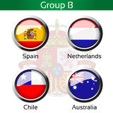 Flags - football Brazil, group B - Spain, Netherlands, Chile, Australia. Illustration Royalty Free Stock Image