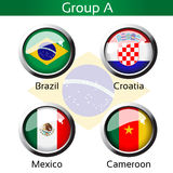 Flags - football Brazil, group A - Brazil, Croatia, Mexico, Cameroon Stock Images