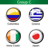 Flags - football Brazil, group C - Colombia, Greece, Ivory Coast, Japan. Illustration Royalty Free Stock Photo