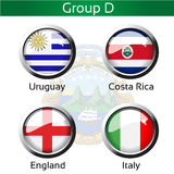 Flags - football Brazil, group D - Uruguay, Costa Rica, England, Italy Stock Image
