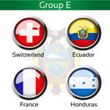 Flags - football Brazil, group E - Switzerland, Ecuador, France, Honduras. Illustration Royalty Free Stock Images