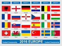 Flags of football championship 2016 Stock Images