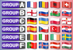 Flags football groups Royalty Free Stock Photo