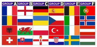 Flags football groups Royalty Free Stock Photos
