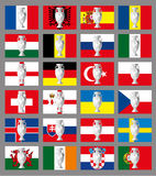 Flags of football teams and silver football trophee, france Royalty Free Stock Images