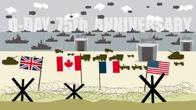 Flags of forces allied on the landing beaches in normandy France vector illustration