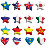 Flags in the form of stars and hearts Royalty Free Stock Images