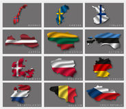 Flags in the form of states Royalty Free Stock Image