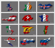 Flags in the form of states Royalty Free Stock Photos
