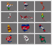 Flags in the form of states Royalty Free Stock Photography