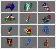 Flags in the form of states Royalty Free Stock Photo