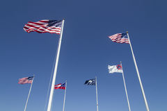 Flags at Fort Sumpter South Carolina. Six different flags that have flown over Fort Sumpter, Charleston, South Carolina Royalty Free Stock Photography