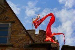 The flags in fortrees. Flag on the fortress in Gdansk royalty free stock photos