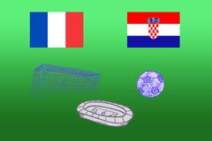 Flags of France and Croatia, ball stadium on a green background stock photos