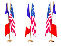 Flags of France and the United State Stock Images
